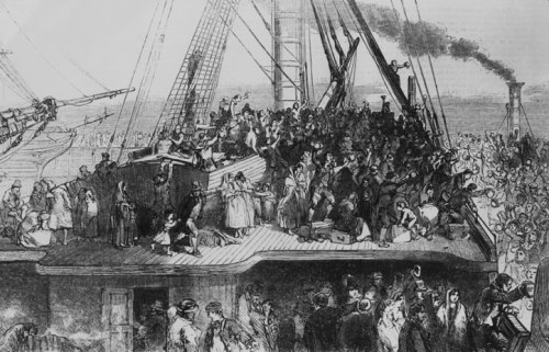 "Cramped and overcrowded conditions on ships that sailed from Ireland to America caused so many deaths that the ships were called ""coffin ships."""